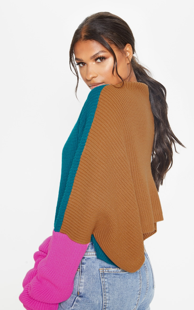 Teal Oversized Colour Block Jumper 2