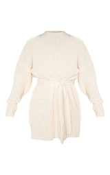 Cream Soft Touch Belted Knitted Sweater Dress 3