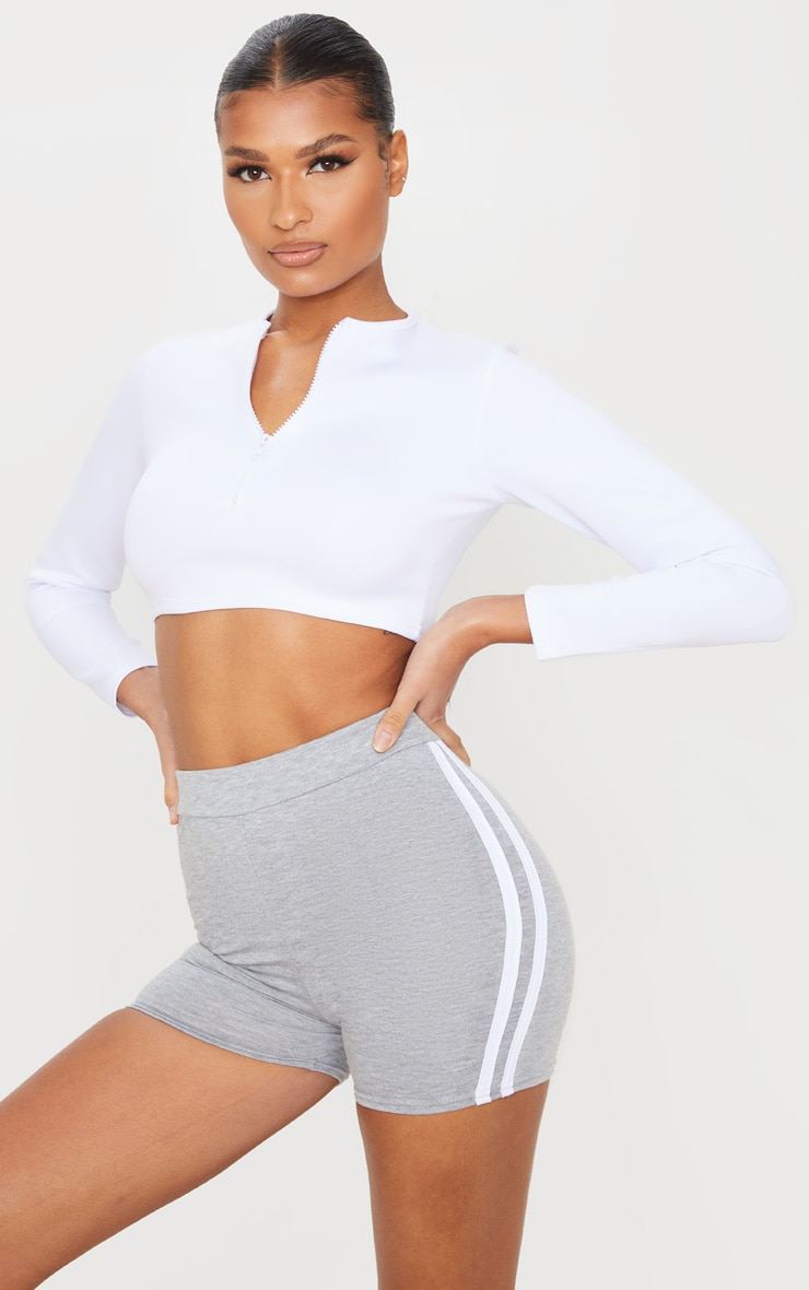 Grey Double Side Stripe High Waisted Shorts 4