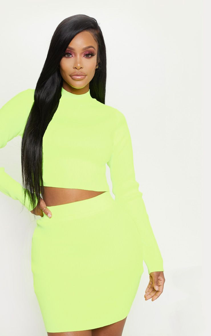 Shape Neon Yellow Knit Bodycon Skirt by Prettylittlething