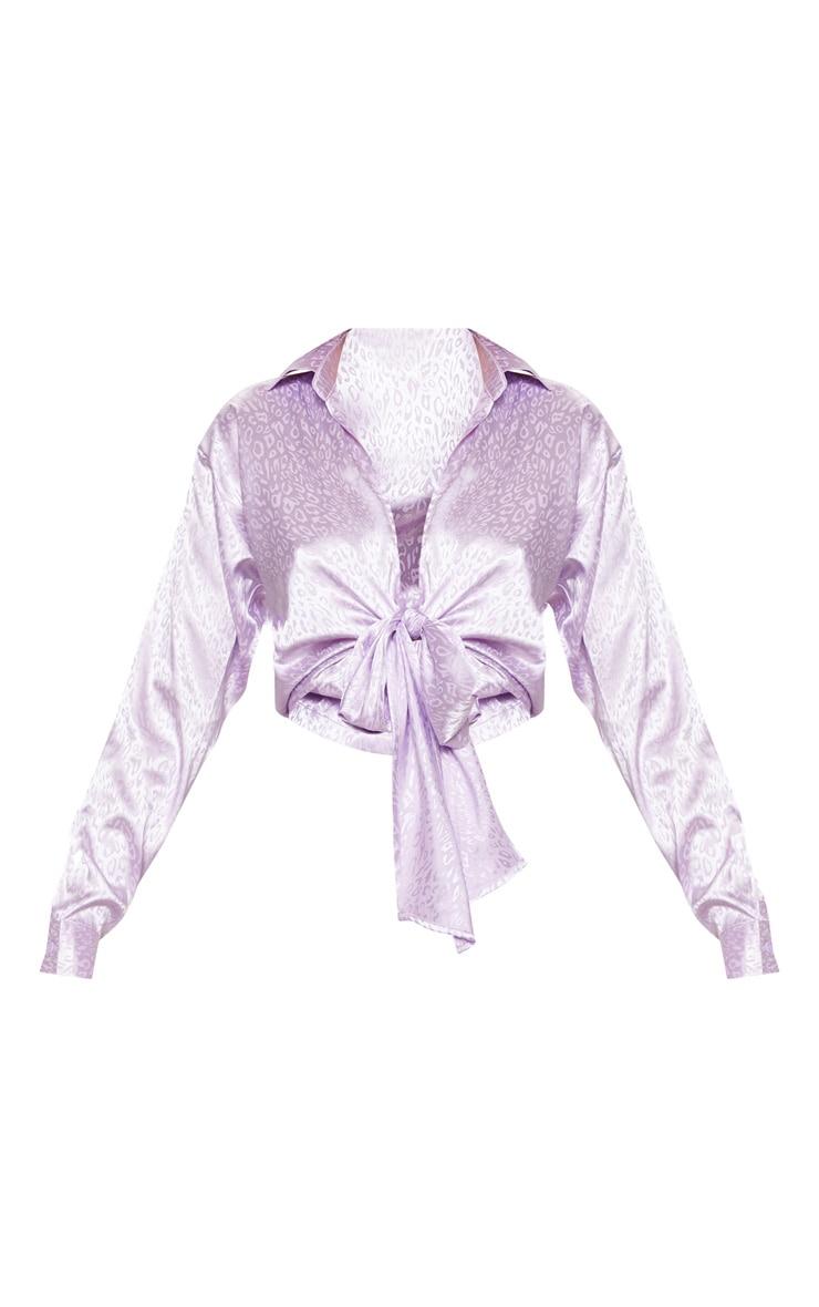 Lilac Satin Jacquard Tie Front Shirt 3