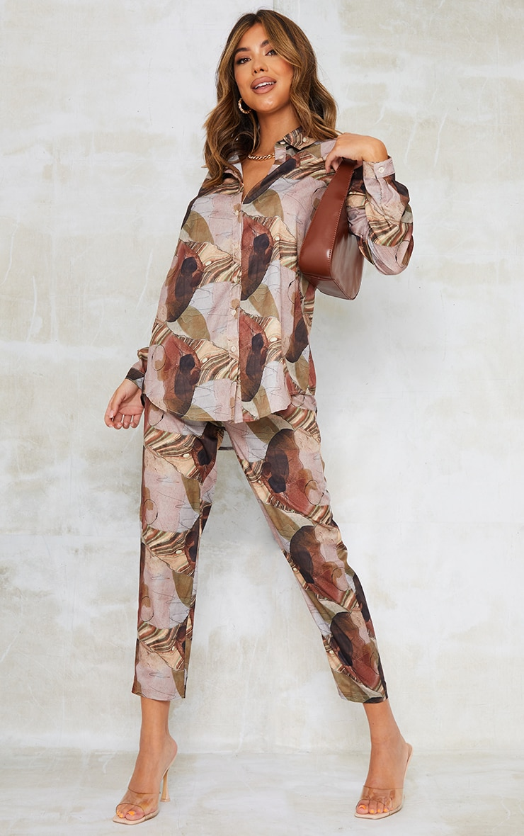 Beige Abstract Print Oversized Shirt 3