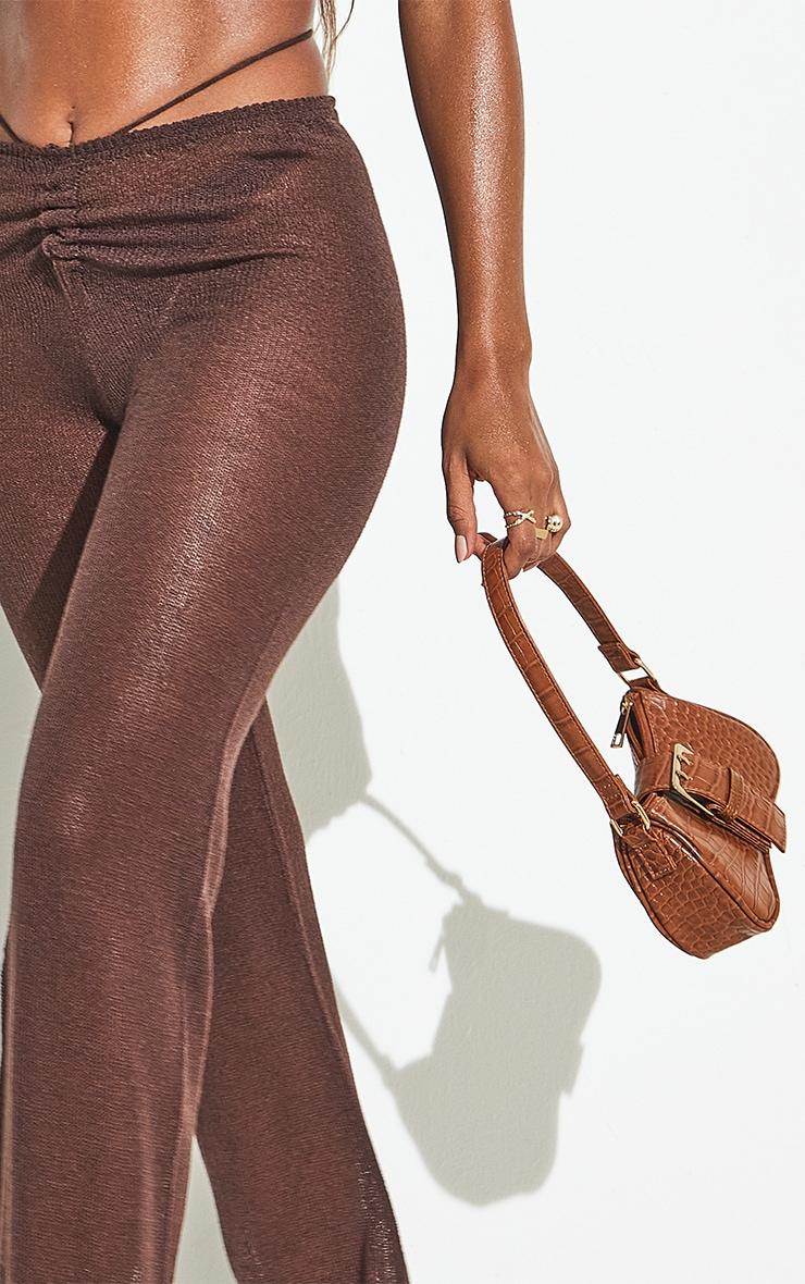 Chocolate Tie Waist Detail Sheer Knit Flare Pants 7
