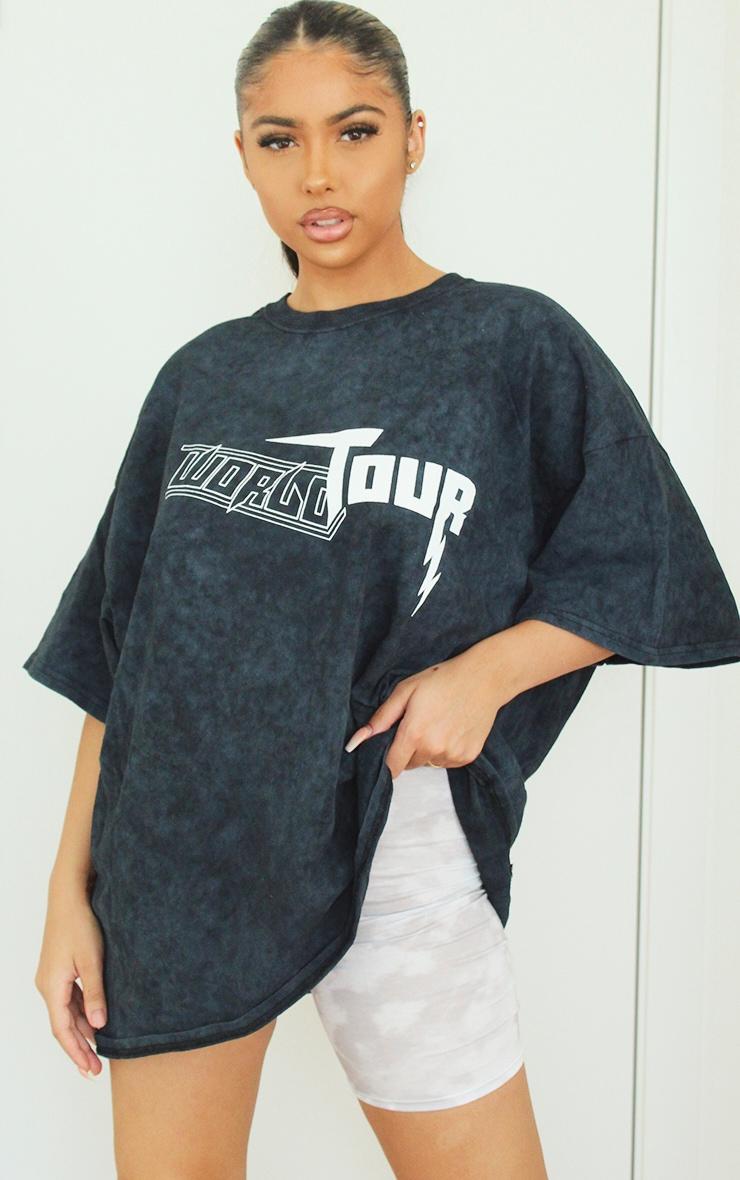 Grey Acid Wash World Tour Slogan T Shirt 2