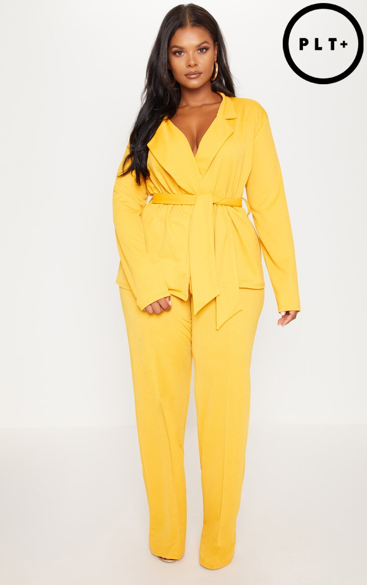 Plus Yellow High Waisted Wide Leg Trousers