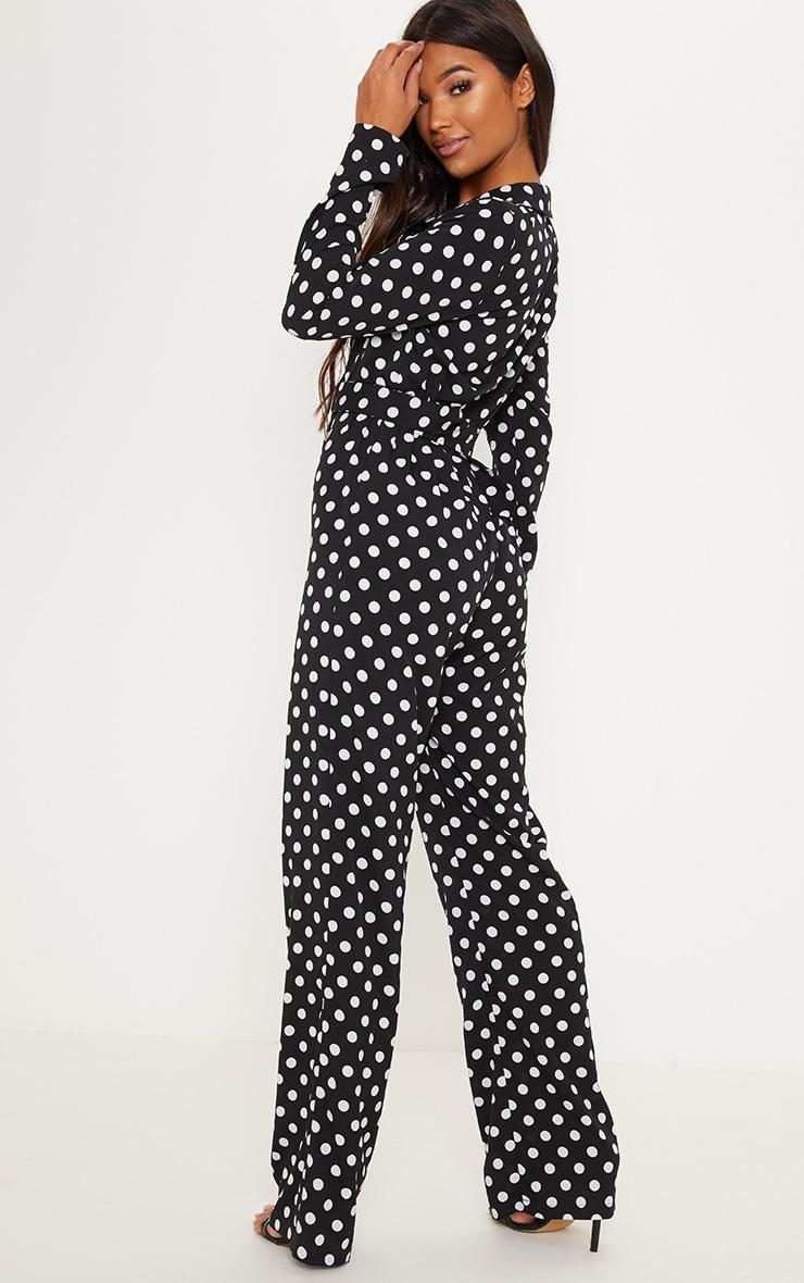 Black Satin Polka Dot Button Front Straight Leg Jumpsuit 2