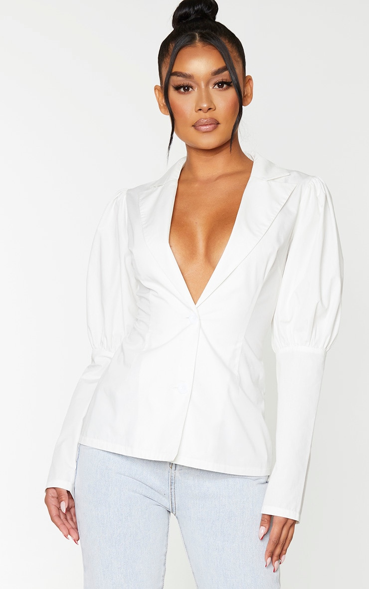 White Woven Puff Sleeve Button Front Shirt 1