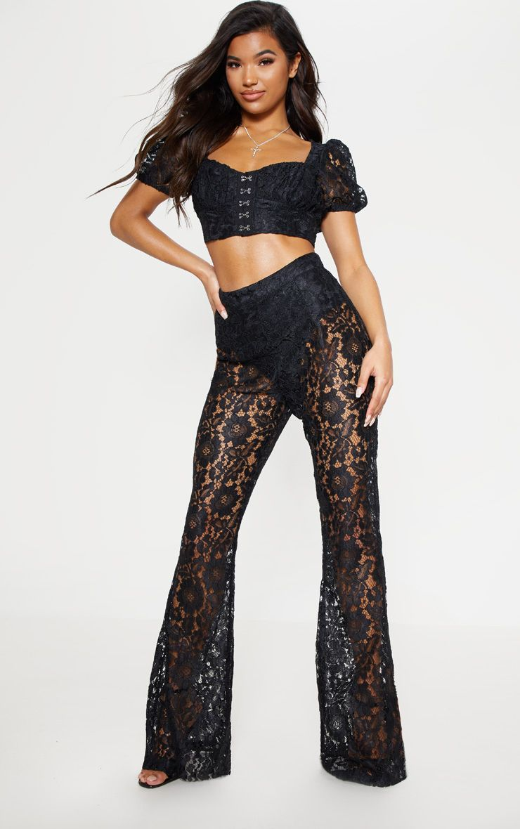Black Lace Sheer Flare Leg Trousers 1