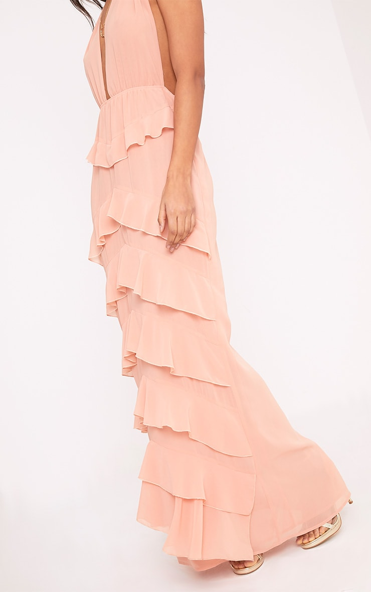 Jayden Blush Chiffon Frill Detail Maxi Dress  6