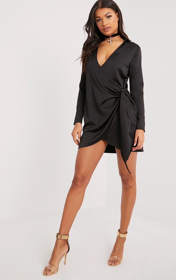 Shaylene robe chemise noire en satin à cordon à nouer à la taille 4