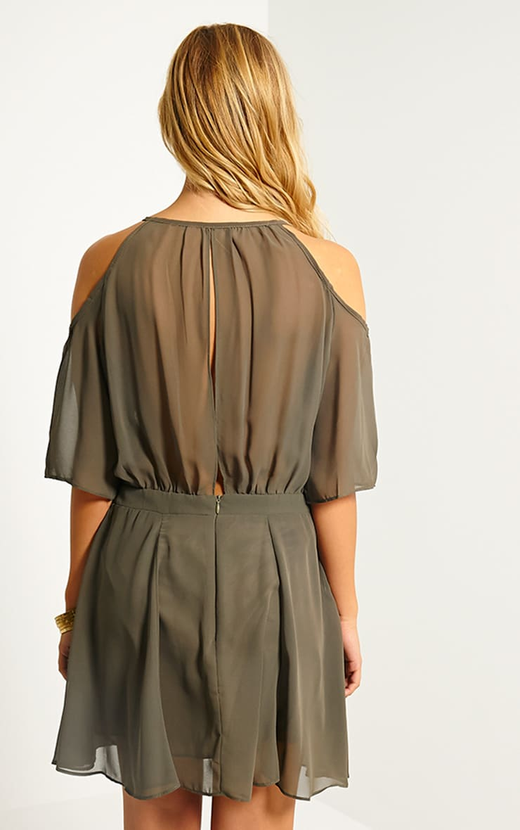 Emeline Khaki Cold Shoulder Skater Dress 2