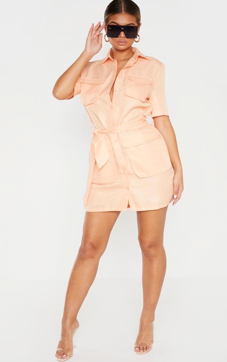 Peach Utility Short Sleeve Shirt Dress 4