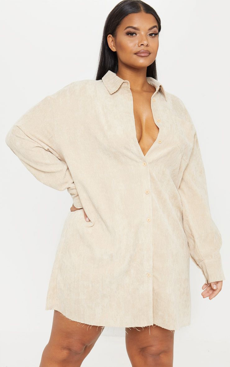 Plus Camel Corduroy Oversized Shirt Dress 1