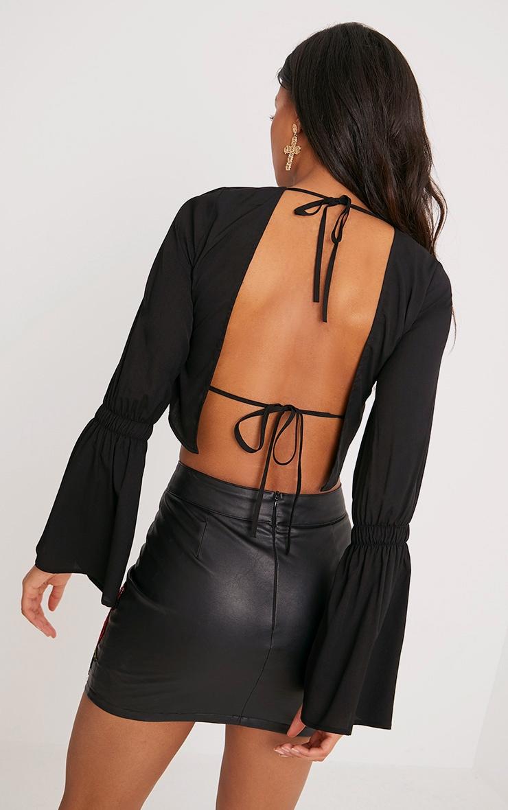 Skye Black Backless Flared Sleeve Blouse  1