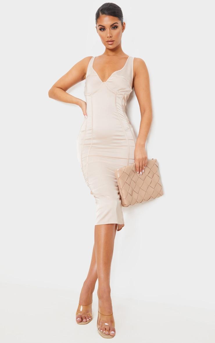 Champagne Satin Underwired Binding Detail Sleeveless Midi Dress 1