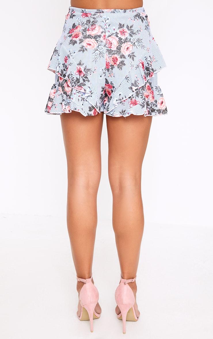 Navy Floral Stripe Frill Hem Shorts 4