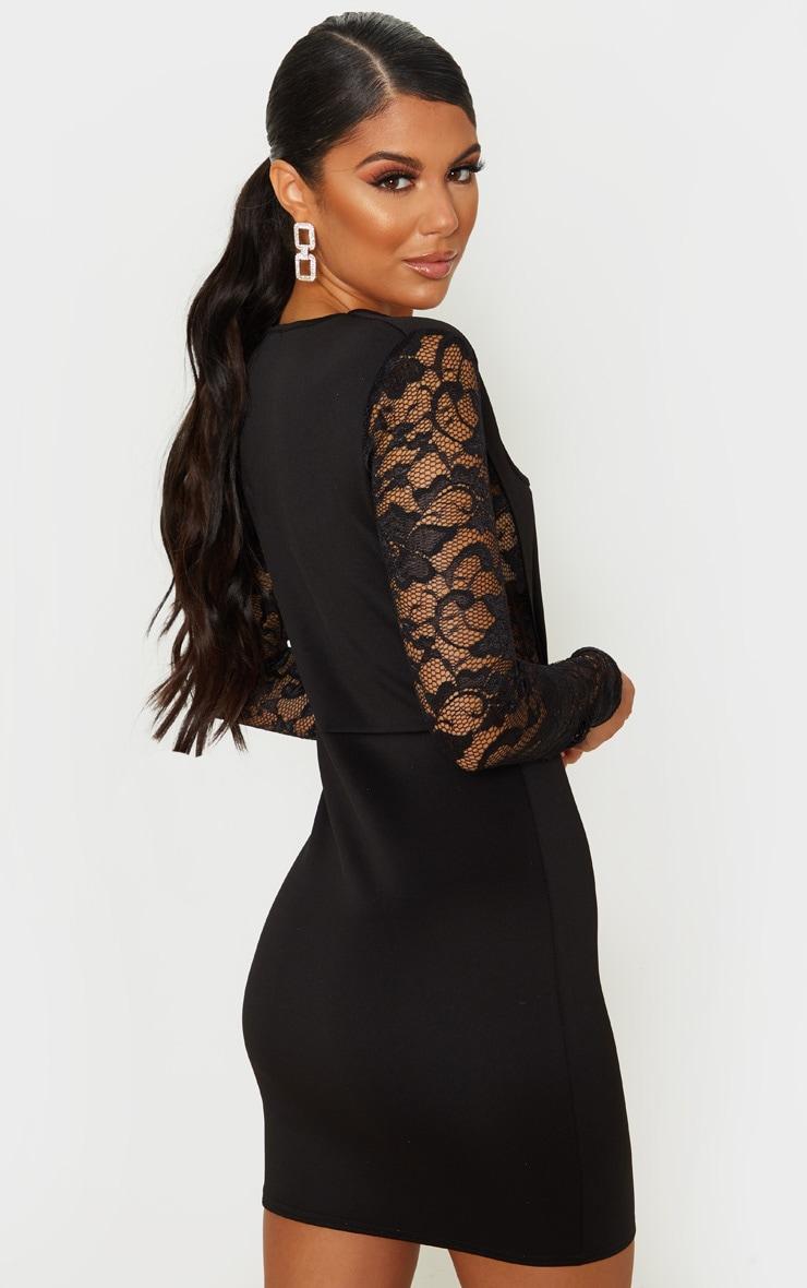 Black Lace Sleeve Insert Square Neck Bodycon Dress 2