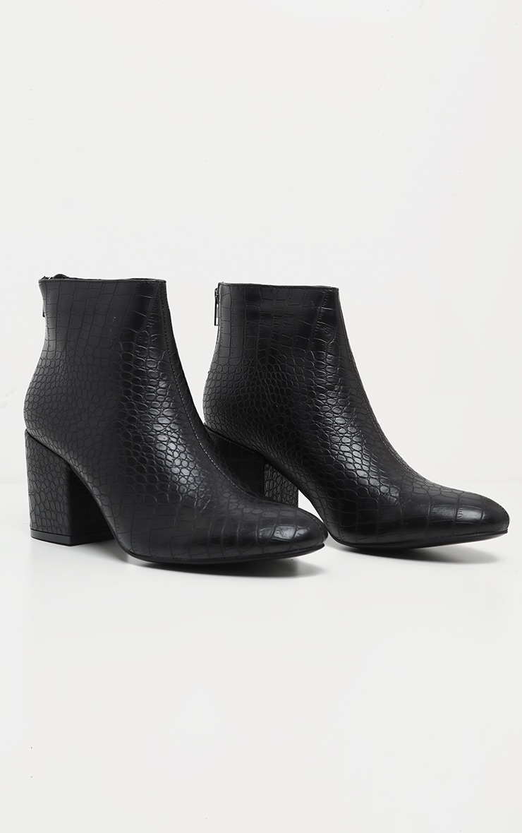 Black Croc Zip Back Ankle Boot 3