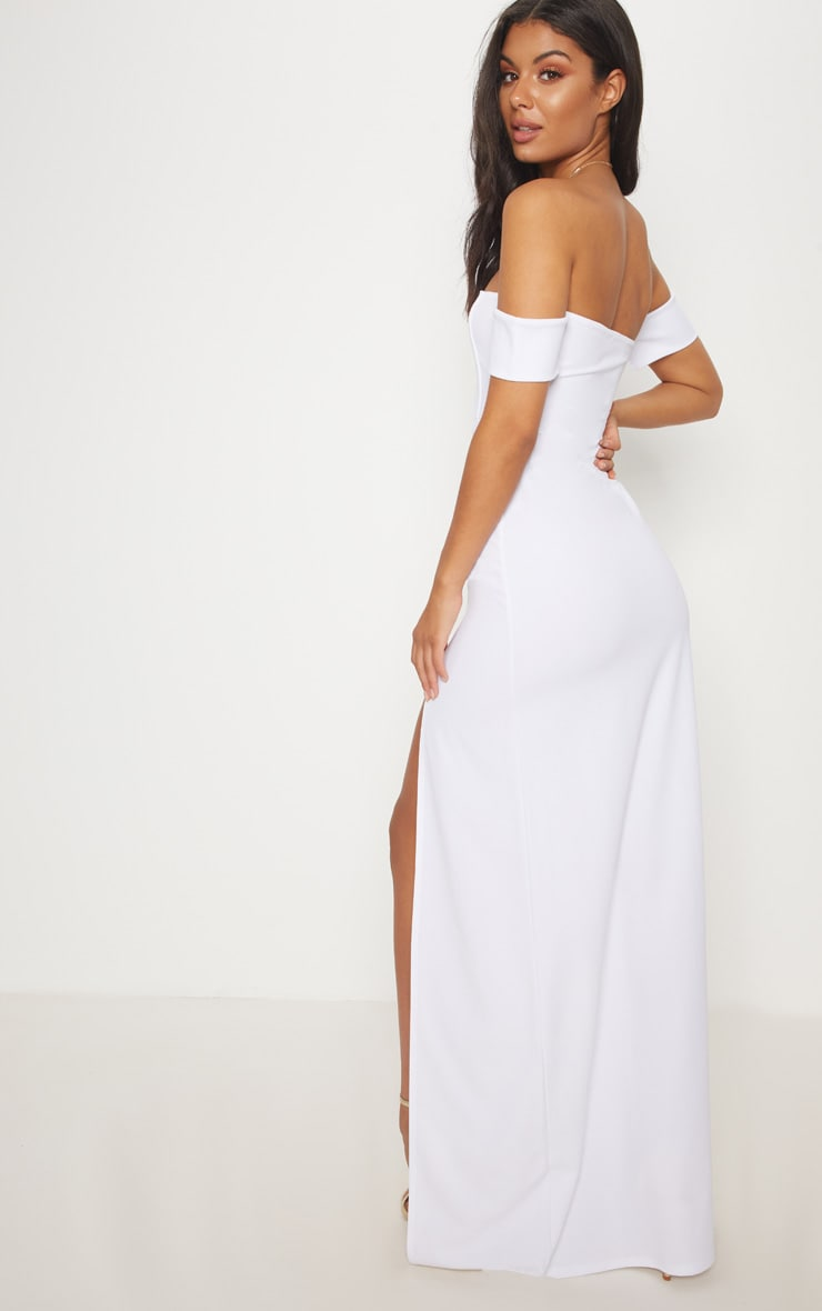 White Bardot V Bar Extreme Split Maxi Dress 2