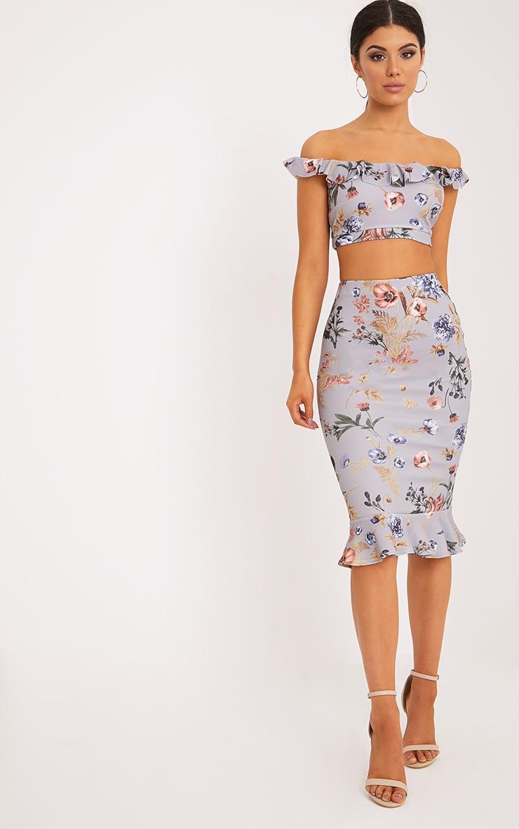 Alyson Grey Frill Hem Floral Midi Skirt 4