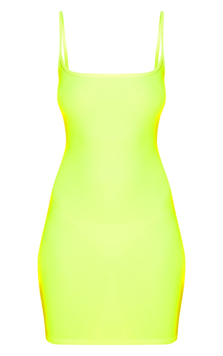 Neon Yellow Strappy Bodycon Dress 3