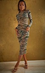 Khaki Zebra Midi Mesh Beach Dress 1