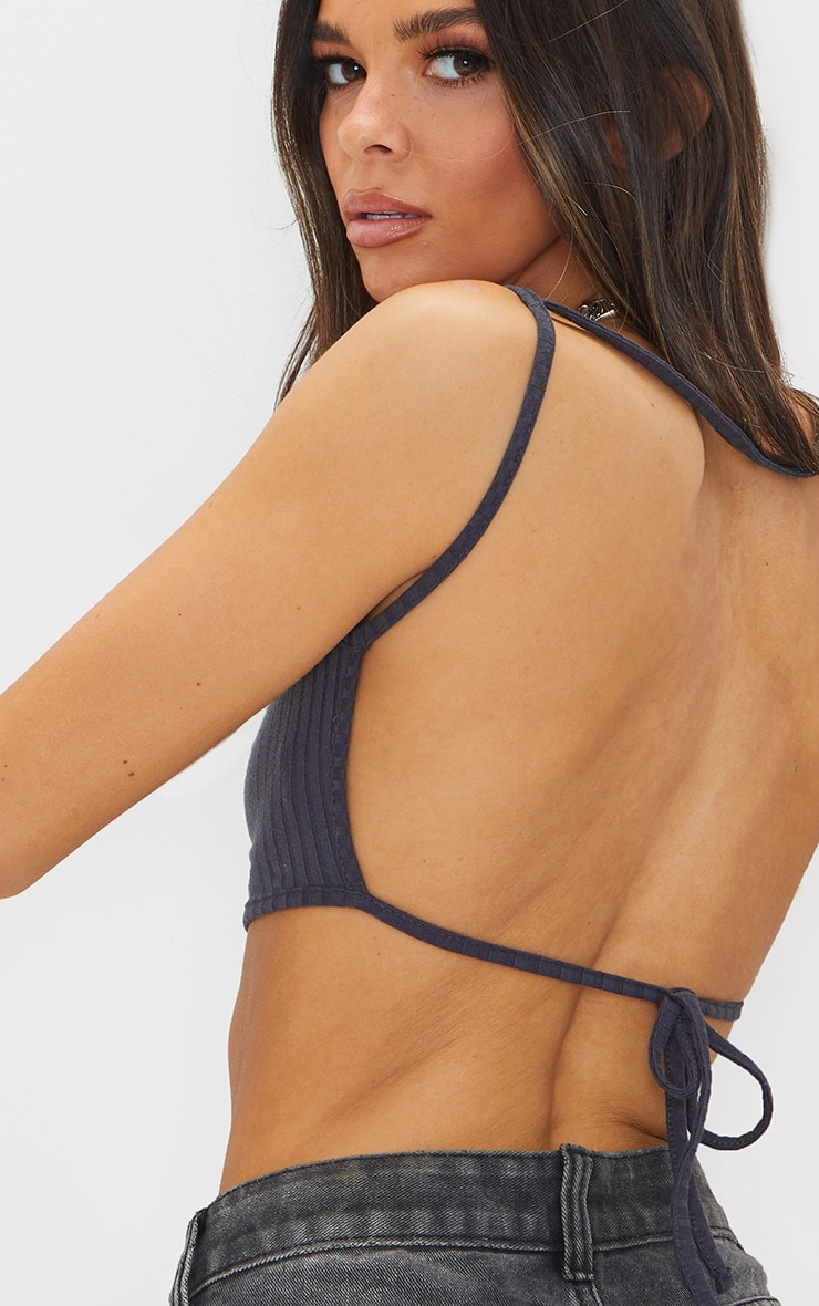 Charcoal Soft Rib Strappy Backless Tie Bralet 4