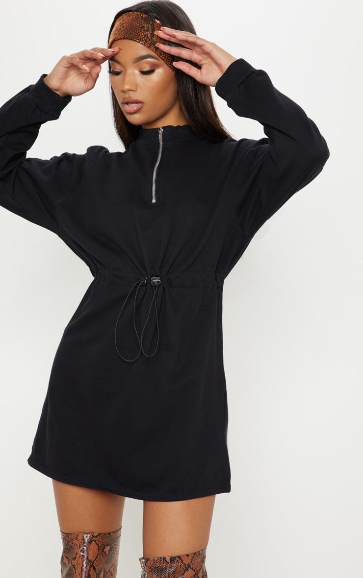 852802cffd4 Black Zip High Neck Tie Waist Jumper Dress image 1