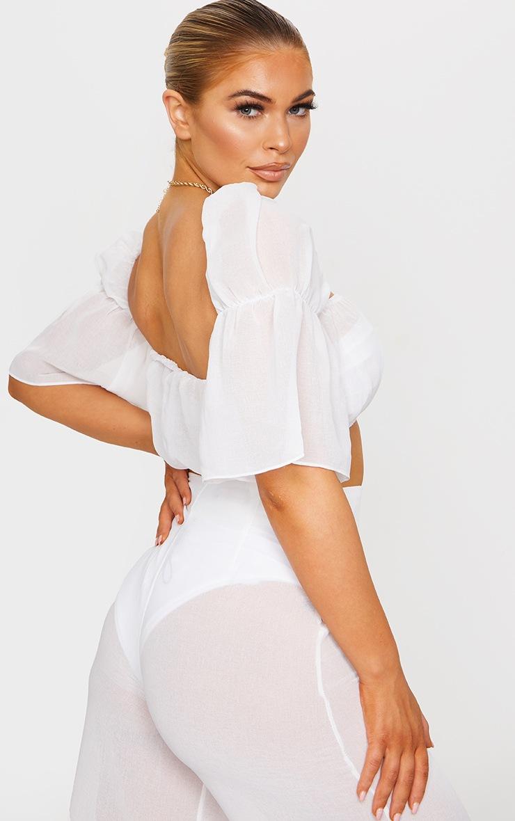 White Linen Look Puff Sleeve Beach Crop Top 2