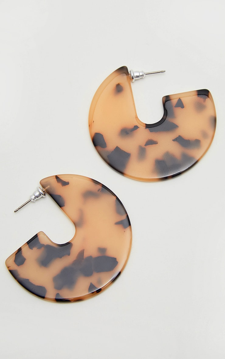 Tortoiseshell Chunky Half Hoop Earrings 2