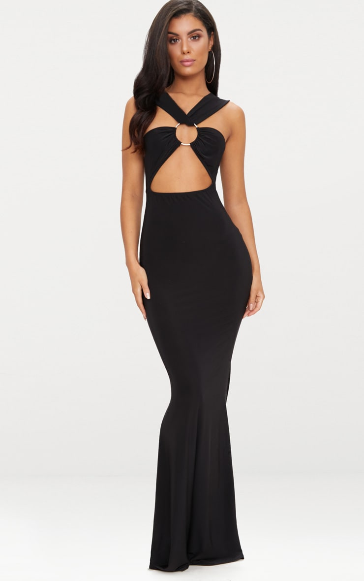 Black Cross Strap Cut Out Ring Detail Maxi Dress  1