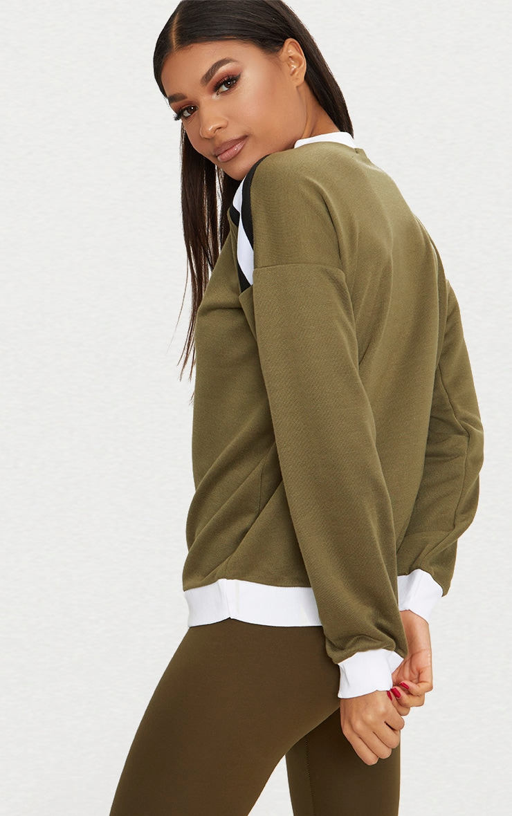 Khaki Triple Shoulder Stripe Oversized Sweater  2