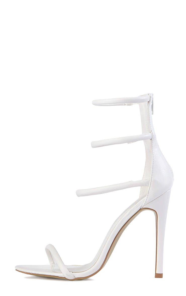 Nadine White Strappy Heeled Sandals 3