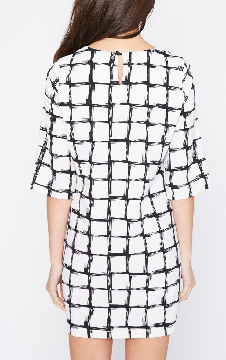 Agni White Check Shift Dress 2