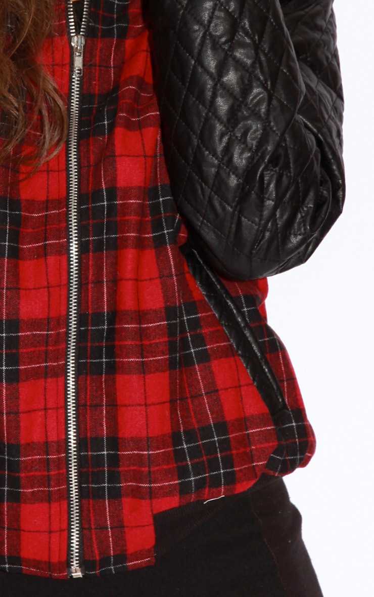 Allana Tartan Print Bomber Jacket With Leather Padded Sleev 4