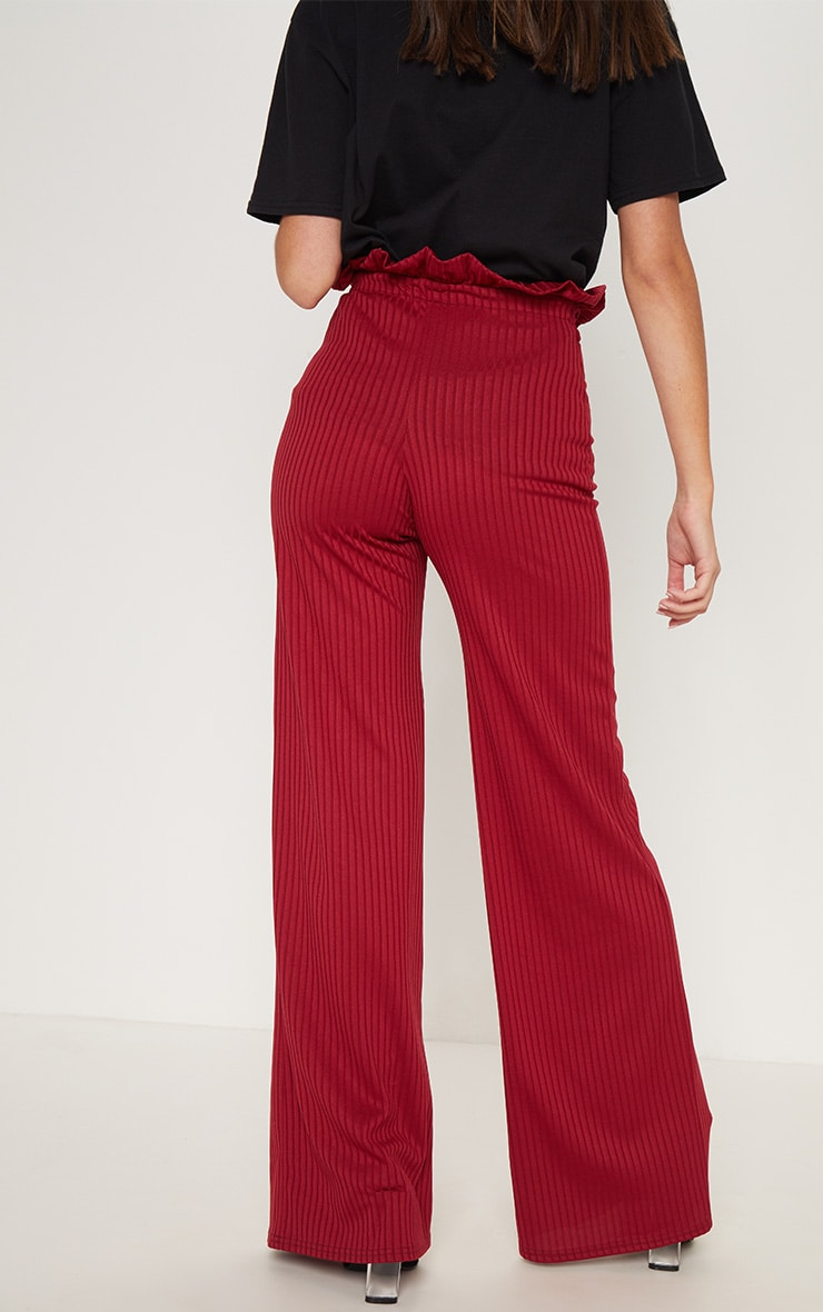 Burgundy Rib Tie Waist Wide Leg Pants 4