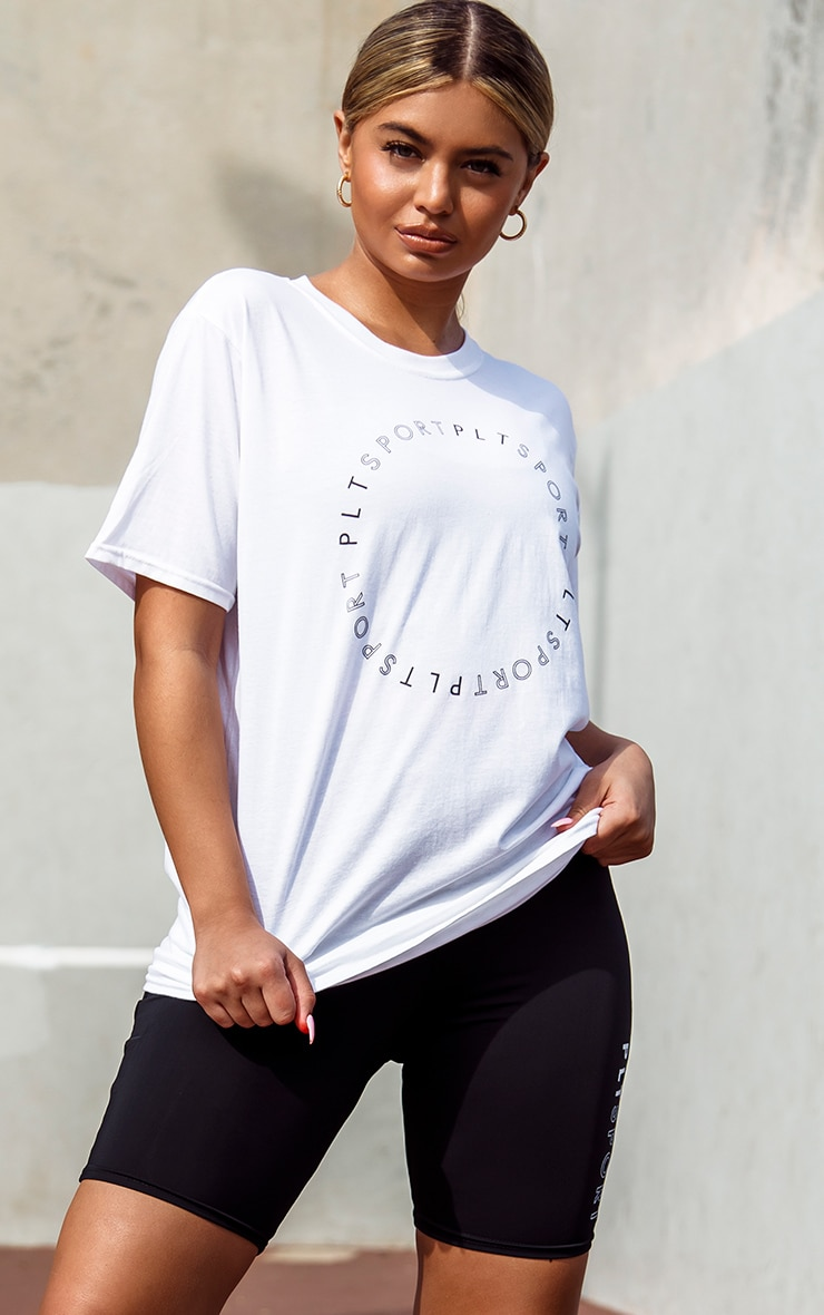 PRETTYLITTLETHING White Circle Oversized Gym T-Shirt