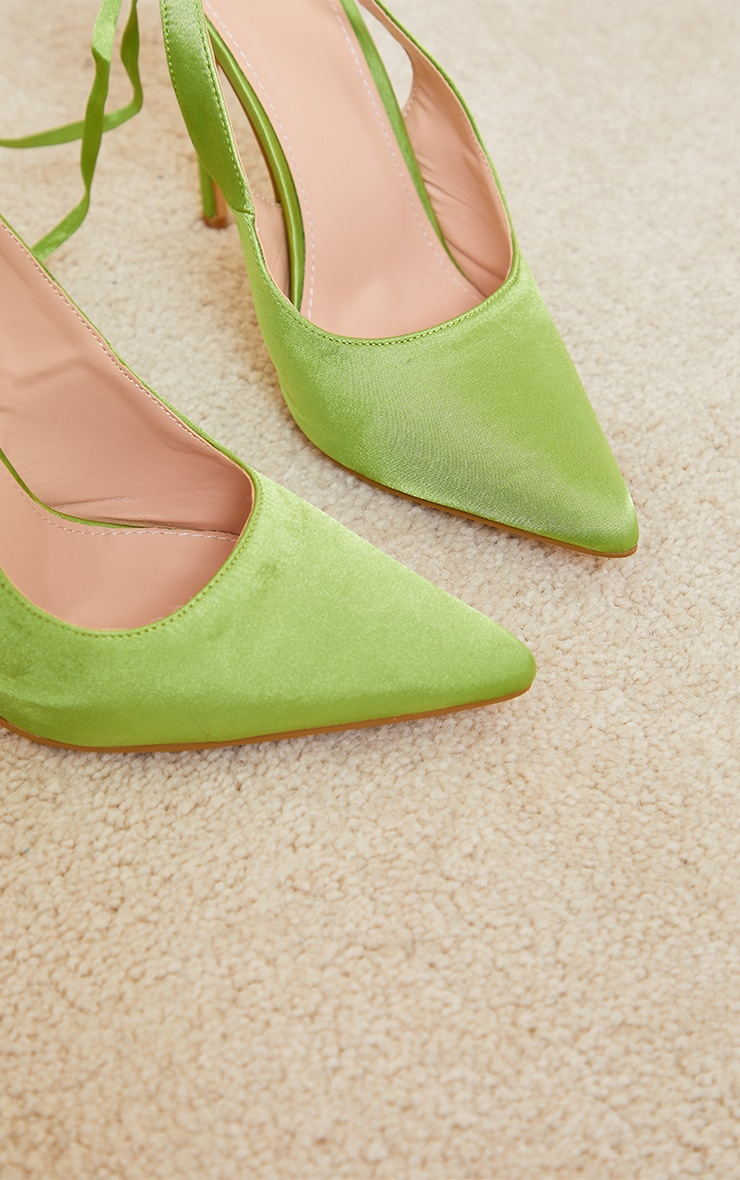 Lime Ankle Tie Court Shoes 3