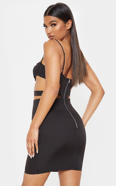 Black Cup Detail Strappy Cut Out Bodycon Dress
