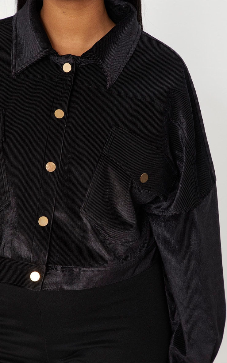 Plus Black Cropped Cord Oversized Trucker Jacket 5