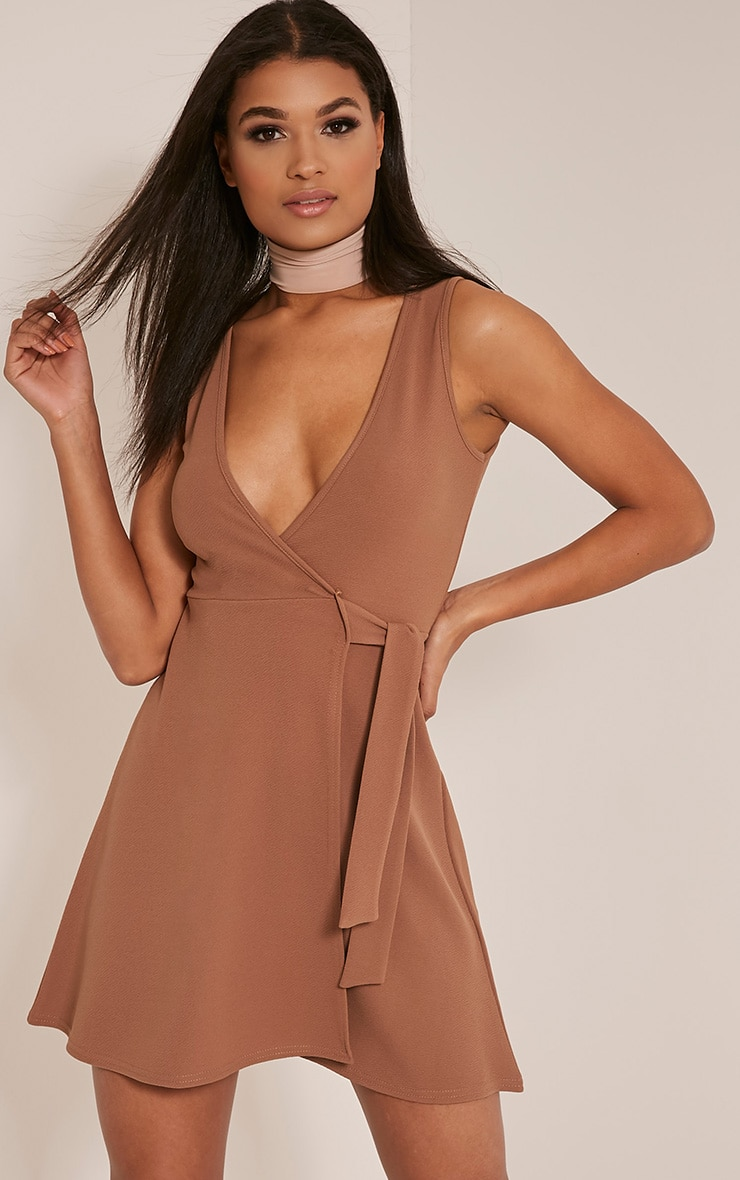 Tassia Camel Tie Waist Skater Dress 1