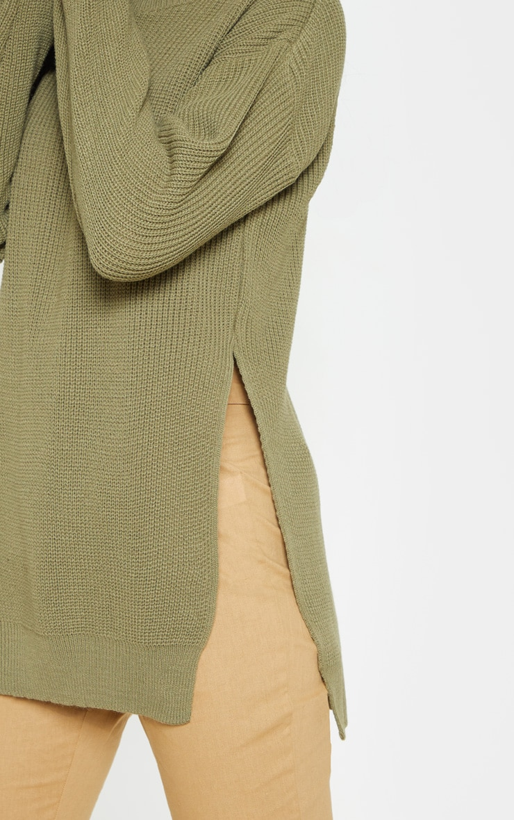 Rexx Khaki Round Neck Side Split Jumper 5