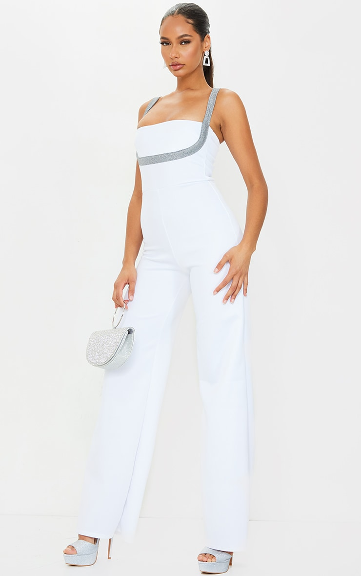 White Metallic Under Boob Wide Leg Jumpsuit 1