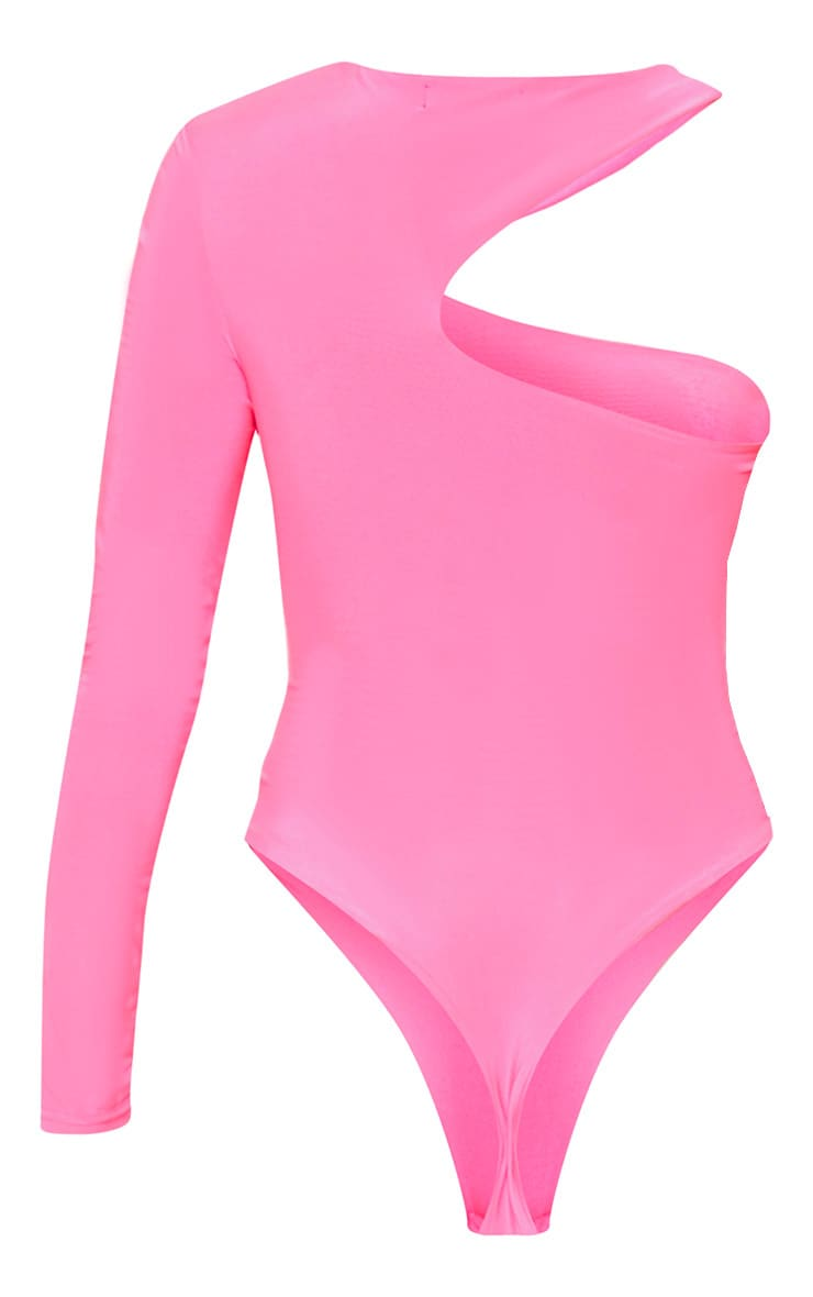Neon Pink Cut Out One Shoulder Bodysuit 4