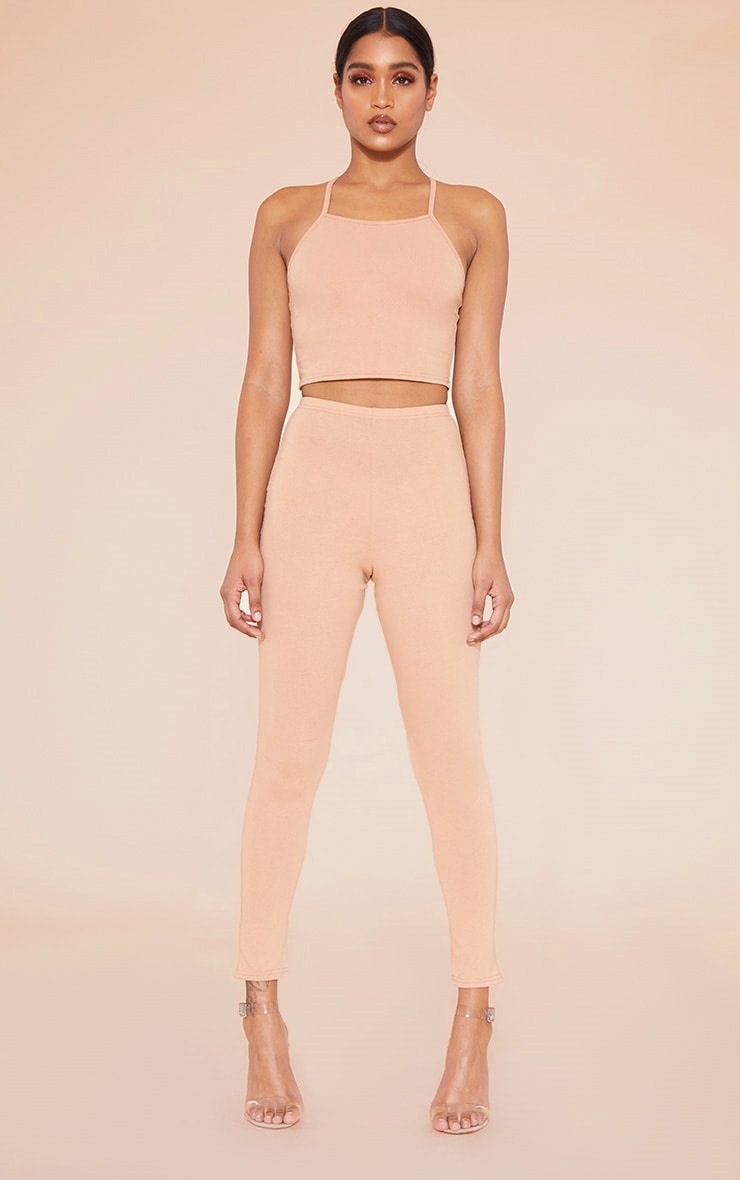RECYCLED Pale Tan 90s Neck Strappy Crop Top 4