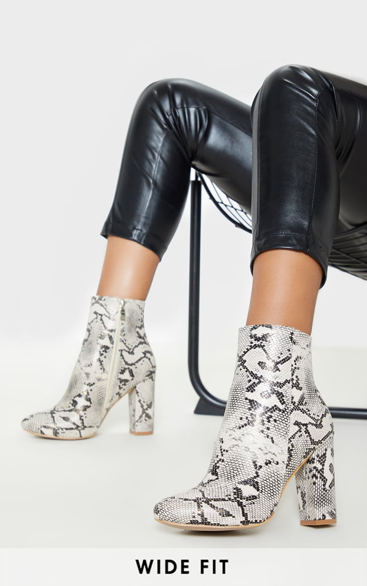 Snake Wide Fit Behati Block Heeled Ankle Boot 1
