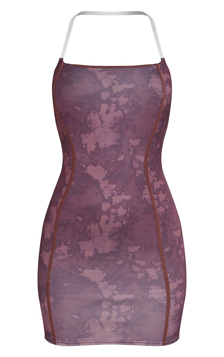 Brown Tie Dye Print Binded Detail Clear Strap Bodycon Dress 5
