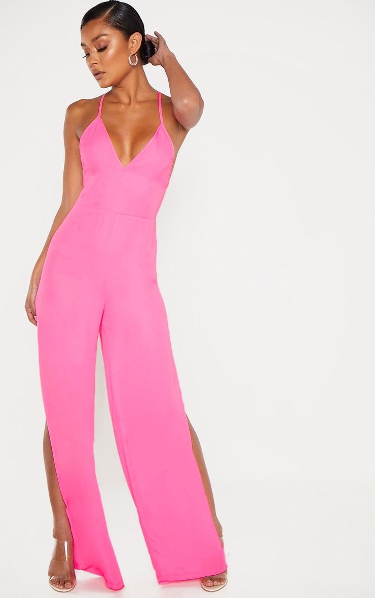 Bright Pink Plunge Side Split Leg Jumpsuit 1