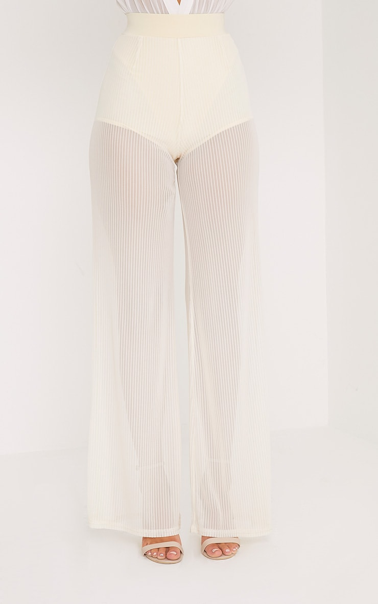 Shamira Pastel Lemon Sheer Stripe Wide Leg Trousers 2