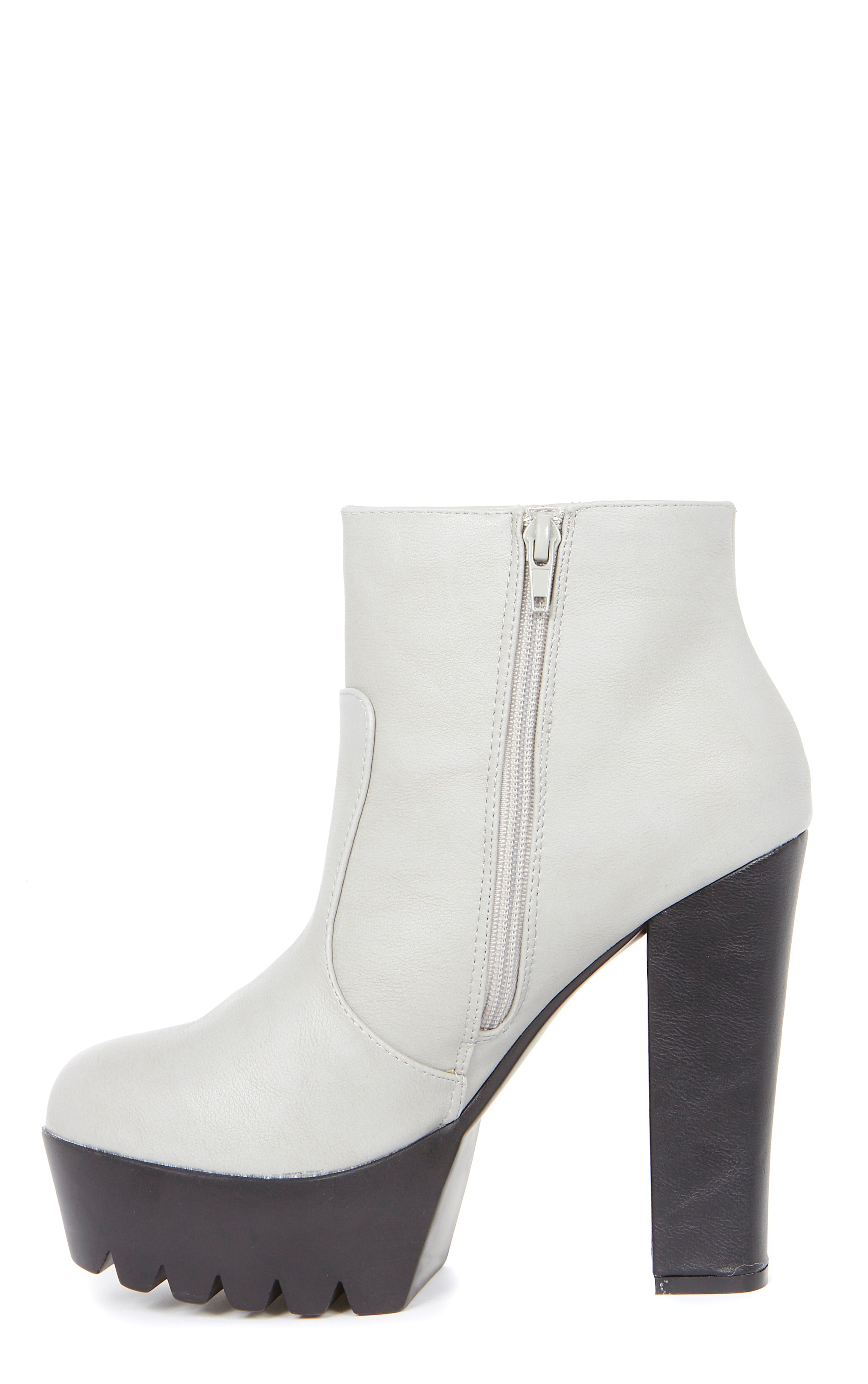 Liberty Grey Cleated Sole Zip Detail Boot  6